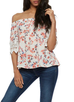Floral Off the Shoulder Crochet Sleeve Top - 3001058758549