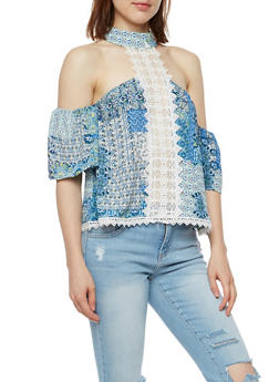Cold Shoulder Printed Top with Crochet Detail - 3001058758557