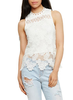 Solid Sleeveless Crochet Top - 3001058758562