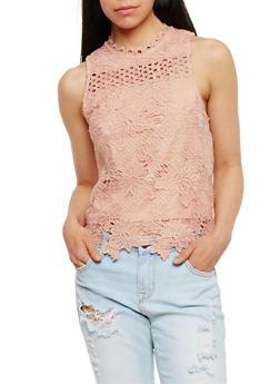 Solid Sleeveless Crochet Top - MAUVE - 3001058758562