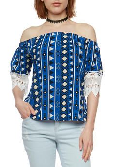 Off the Shoulder Printed Top with Choker - 3001058758578