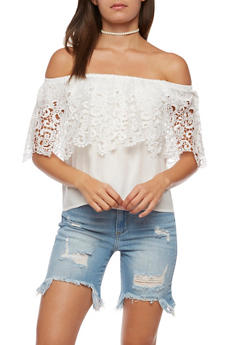 Off the Shoulder Top with Crochet Overlay - 3001058758614