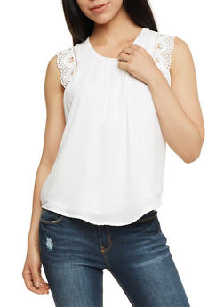 Pleated Chiffon Top with Crochet Trim - WHITE - 3001058758617