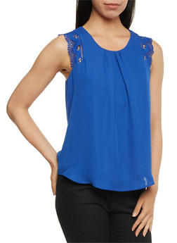 Pleated Chiffon Top with Crochet Trim - 3001058758617