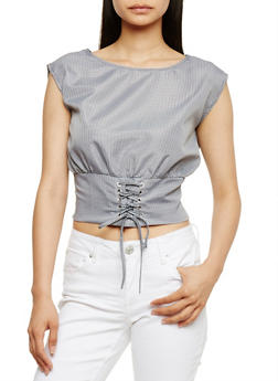 Gingham Crop Top with Corset Hem - BLACK/WHT - 3001058758661
