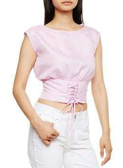Gingham Crop Top with Corset Hem - PINK/WHT - 3001058758661