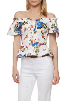 Floral Off the Shoulder Lace Up Peplum Top - 3001058758664