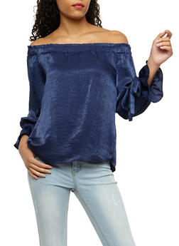 Off the Shoulder Long Tie Sleeve Top - 3001058758826