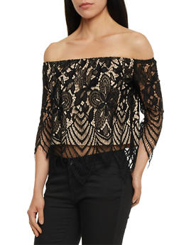 Off the Shoulder Lace Top - 3001058758831