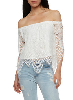 Off the Shoulder Lace Top - IVORY - 3001058758831