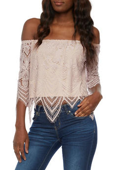 Off the Shoulder Lace Top - MAUVE - 3001058758831