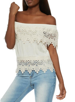 Off The Shoulder Top with Crochet Overlay - NATURAL - 3001058758833