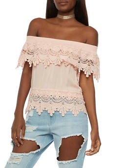 Off The Shoulder Top with Crochet Overlay - 3001058758833