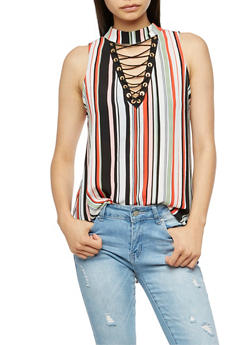 Striped Sleeveless Lace Up Top - 3001058758891
