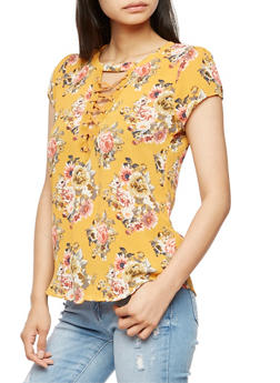Floral Crepe Knit Lace Up Top - 3001058758893