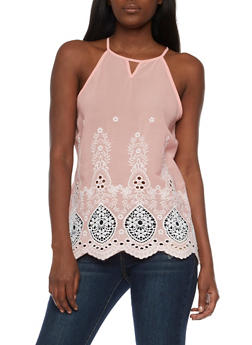 Embroidered Keyhole Tank Top - 3001058759030