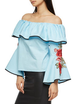 Off the Shoulder Bell Sleeve Ruffled Top with Floral Applique - 3001058759603