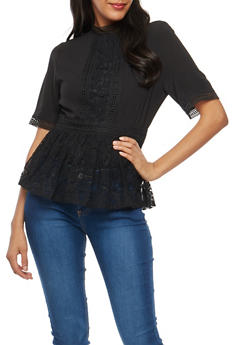 Crepe Knit Lace Trim Peplum Top - BLACK - 3001058759690