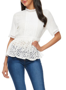 Crepe Knit Lace Trim Peplum Top - IVORY - 3001058759690