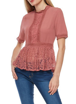 Crepe Knit Lace Trim Peplum Top - ROSE - 3001058759690