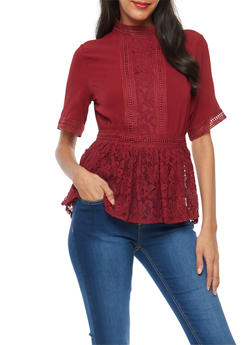 Crepe Knit Lace Trim Peplum Top - MERLOT - 3001058759690