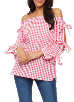 Gingham Off the Shoulder Tie Sleeve Top - 3001058759784