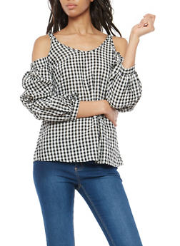 Gingham Cold Shoulder Tie Sleeve Top - 3001058759788