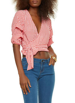 Gingham Tiered Sleeve Wrap Front Top - RED/WHT - 3001058759834