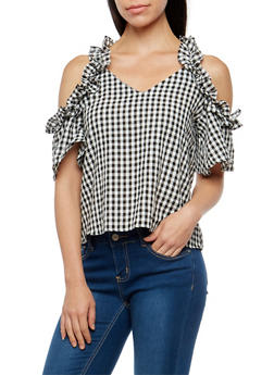 Ruffled Gingham Print Cold Shoulder Top - 3001058759843