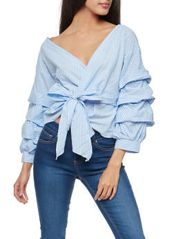 Striped Ruched Sleeve Wrap Top - 3001058759949