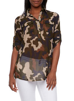 Camo Print Blouse with Button Front - 3001064517315