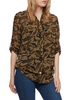 Mandarin Collar Camo Print Shirt with Zipper Pockets - 3001064517794