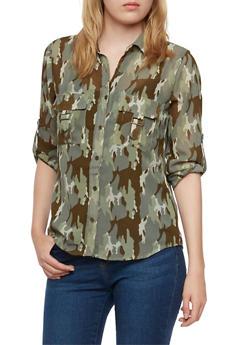 Sheer Camo Print Boyfriend Shirt with Button Front - 3001064517806