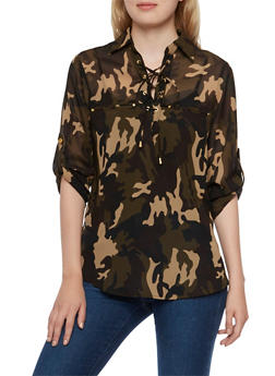 Lace Up Camo Print Blouse with Welt Pockets - 3001064518077