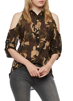 Cold Shoulder High Low Top with Camo Print - 3001064518089