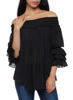 Off the Shoulder Ruffled Sleeve Tunic Top - 3001067330012