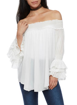 Off the Shoulder Ruffled Sleeve Tunic Top - IVORY - 3001067330012