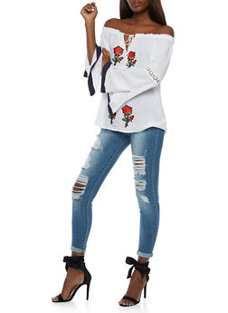 Off the Shoulder Tie Neck Peasant Top with Floral Patches - 3001067330013