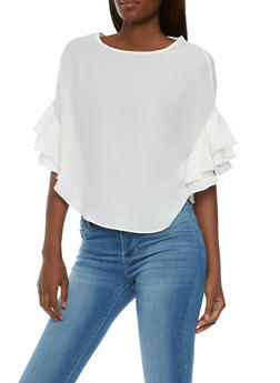 Crepe Knit Blouse with Ruffled Sleeves - WHITE - 3001067330014
