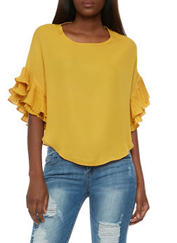 Crepe Knit Blouse with Ruffled Sleeves - 3001067330014