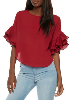 Crepe Knit Blouse with Ruffled Sleeves - BURGUNDY - 3001067330014