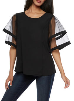 Tiered Mesh Sleeve Top - 3001067330017