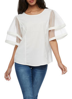 Tiered Mesh Sleeve Top - WHITE - 3001067330017