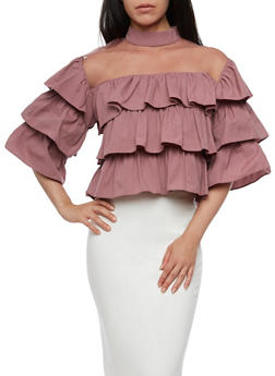 Tiered Ruffled Top with Mesh Neckline - 3001067330018