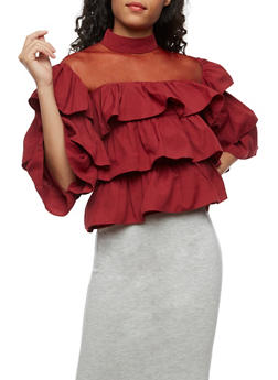 Tiered Ruffled Top with Mesh Neckline - BURGUNDY - 3001067330018