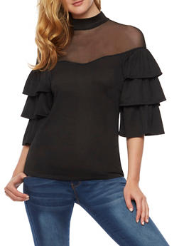 Mock Neck Tiered Sleeve Blouse with Mesh Yoke - 3001067330019