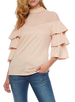 Mock Neck Tiered Sleeve Blouse with Mesh Yoke - PEACH - 3001067330019