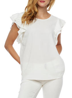Pleated Cap Sleeves Blouse - WHITE - 3001067330020