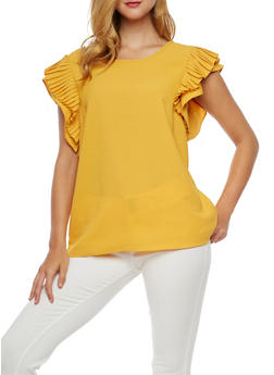 Pleated Cap Sleeves Blouse - 3001067330020