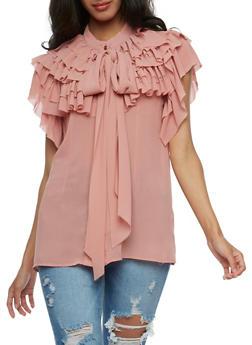 Tiered Ruffle Chiffon Shirt - 3001067330021